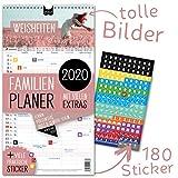 Familienplaner 2020 - WEISHEITEN | 5 Spalten | Wandkalender: 23x43cm | Familienkalender Extras: 180 Sticker, Ferien 2020/21, Pollen-, Obst- & Gemüse-, Jahreskalender, Vorschau bis März 2021