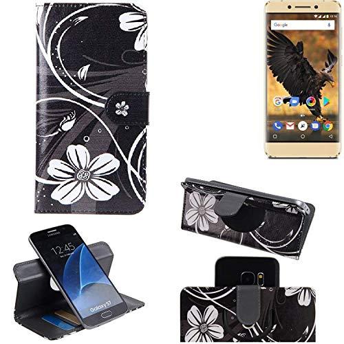 K-S-Trade Schutzhülle für Allview P8 Pro Hülle 360° Wallet Case Schutz Hülle ''Flowers'' Smartphone Flip Cover Flipstyle Tasche Handyhülle schwarz-weiß 1x