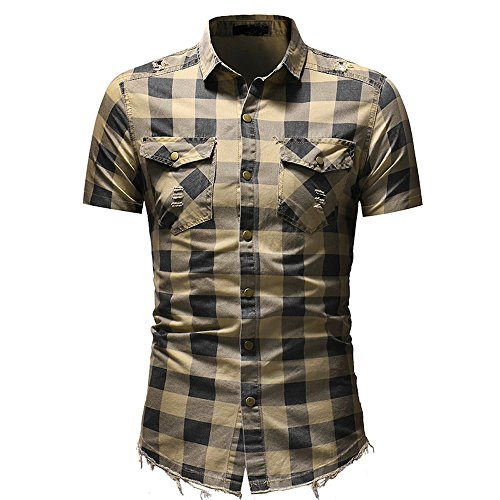 Herren Casual Slim Fit Knopf Shirt Plaid Kurzarm Bluse(Beige,CN M) ()