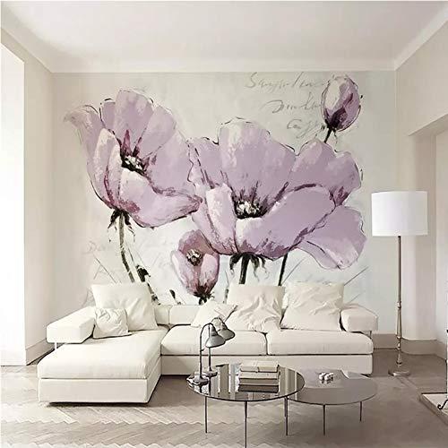 HUANGYAHUI Carta da Parati murales bei Fiori Viola Minimalista TV Sfondo Muro Carte Decorazioni per la casa-400cm W x 300cm H