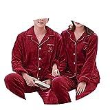 JZX Winter Paar Korallenroten Fleece Dicken Warmen Pyjamas, Herren Zweiteiler, Winter Damen Pyjamas,Männlich grau,L