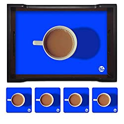 Nutcase Designer Wooden Serving Trays With A Set Of 4 Matching Metal Coasters for Kitchen Serving/Dining Set - Cup Of Tea Blue