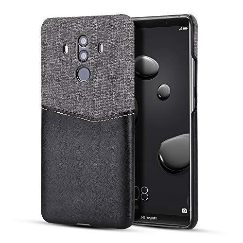 YXHM EU Schutzhülle für Huawei Mate 10 pro minimalistische kartensteckplatz Leder + leinwand Stoff Stil case, Slim fit snap auf Abdeckung für Huawei Mate 10 pro (Color : Black) Design Snap Case
