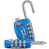 2 x TSA Cadenas de sécurité - 4-nombre Combinaison Voyage Valise bagages Code de sac Lock (Bleu) - GARANTIE À VIE