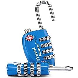 2 lucchetti di sicurezza TSA da viaggio, a combinazione con 4 cifre, per valigie, bagagli, borse, chiusura con codice di sicurezza (colore blu)