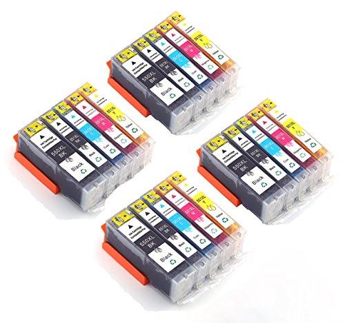 20er Set kompatibel Canon PGI-550XL CLI-551XL Druckerpatronen for Canon Pixma MX925 iP7250 MG5550 MG5650 MX725 iX6850 MX920 MG6650 MG6450 MG5450 iP7200 Drucker-8 Schwarz/4 Blau/4 Rot/4 Gelb
