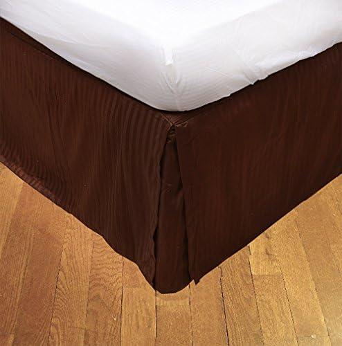 Coton égyptien 550 Fils 1pièce de Tour de 1pièce lit 45,7 cm de Hauteur Longueur UK Super King Chocolat 100% Coton à Rayures 550tc 5c2700