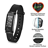 Q Band Q 68HR Accurate Health Fitness Tracker Watch 100 Hours Heart Rate Monitor Bluetooth Activity Tracker Sunlight Readable Scratch Resistant Big Screen Pedometer Band BLACK