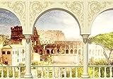 wandmotiv24 Fototapete Kolosseum Säule Rom Italien Vintage Garten Baluster Balustrade Antik M1258 XS 150 x 105cm - 3 Teile Wandbild - Motivtapete