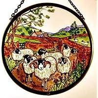 Decorativa pintada a mano Vidriera ventana Sun Catcher/Pop Art products en un pastor y oveja diseño.