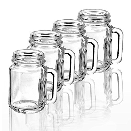 URBN CHEF Mason Jar Schnapsgläser, Glas, 4 Glasses