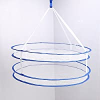 veposon Double Layer Folding Hanging Clothes Drying Rack Laundry Basket