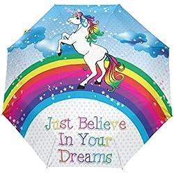 ALAZA Unicornio y del arco iris Automóviles Viajes Abrir/Cerrar Paraguas con anti-UV a prueba de viento ligero