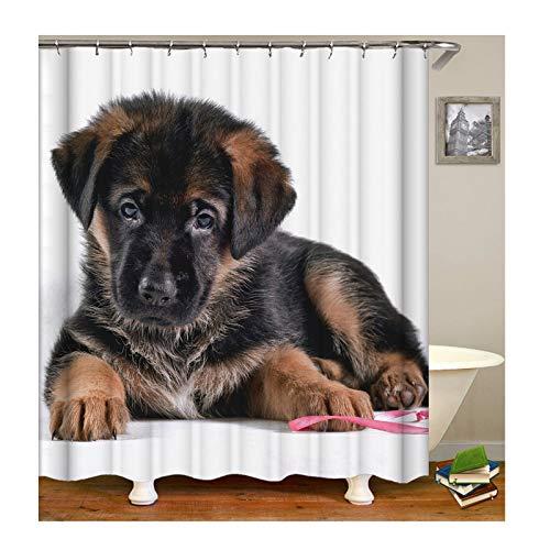 KnSam Anti-Schimmel Wasserdicht Duschvorhang Inkl. 12 Duschvorhangringen Hund Vorhänge An Badewanne Bad Vorhang für Badezimmer 120 X 180 - Null Hunde Kostüm