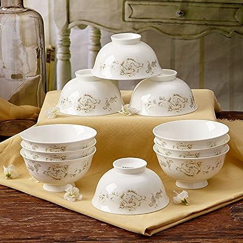 Yifom 4,5 pollici di altezza ciotola di anti-calda tazza di ceramica set bone china tazza 10