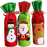 ChristmasDay07 3 Fundas Navideñas para Botellas de Vino - Decoración para la Mesa de Navidad (