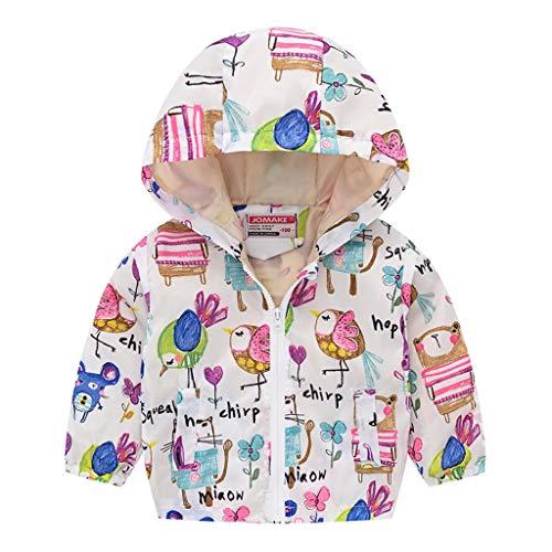 DQANIU Baby Mantel, Kleinkind Kinder Baby Mädchen Jungen Langarm Cartoon Print Reißverschluss Kapuzen Mantel Jacke 12M-5Y