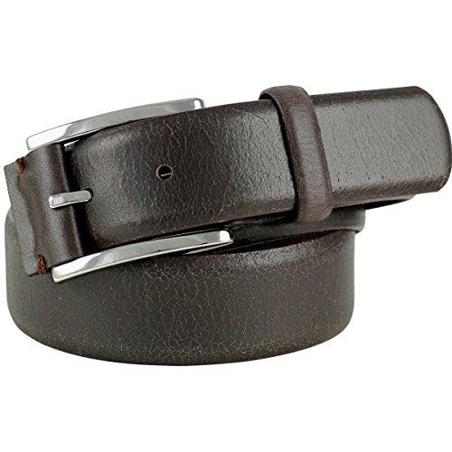 Uomini cintura in pelle/cintura uomini lindemann, in cuoio USED LOOK, marrone scuro, 415 marrone L