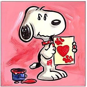 Original Acryl auf Leinwand und Keilrahmen: Peanuts Snoopy Heart/ 20x20 cm