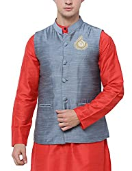 Svanik Steel grey Blended Ethnic Jacket