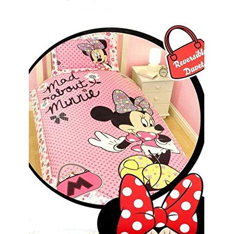 Disney - Juego de funda para edredón y almohadón con diseño de Minnie Mouse niña/chica (Cama de 90/Rosa)