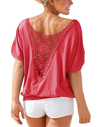 ISASSY Damen T-Shirt Casual Spitze Tops Bluse Oberteil Lace Shirt mit Spitze Rot