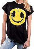 MAKAYA Oversize Hip Hop Top Manga Corta - Sonrisa Auriculares - Camiseta Hipster Smile Mujer Negro M