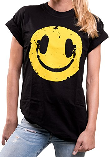 Women's Oversized Smiley Headphones T-shirt. 14 to 24