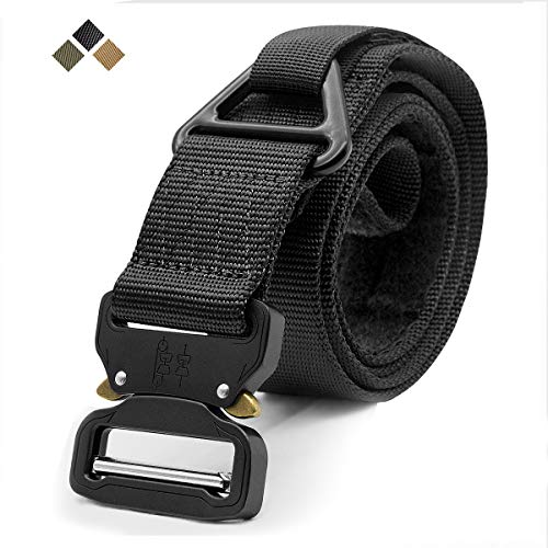 Tactical belt, military style Adjustable web nylon strap Durable rigging belt with quick-release metal buckle and V-ring - Ideal for working on Airs hunting