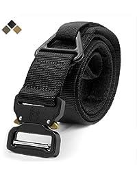 Cinturón táctico, estilo militar Correa ajustable de nylon para web Cinturón resistente de los aparejos con hebilla de metal de liberación rápida y anillo en V - Ideal para trabajar en la caza de Airs
