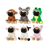 """9"""" Pug Plush Toy in Animal Onesie - Various Designs - Collect Them All Today"""