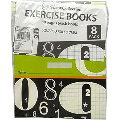 Exercise Books-grafico a quadretti da 7 mm, confezione da 8, motivo: Oxford Scholar-88, pagine a righe, dimensioni: 197 x 155 mm