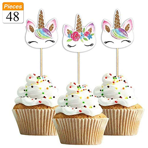 48-pack Rainbow Unicorn cupcake topper Picks, doppio Unicorn cake topper for birthday Baby Shower party Decorations Supplies