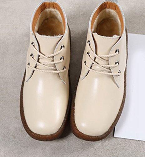 Yiiquan Donna Testa Rotonda Pelle PU Scarpe Scuola Lavoro Ufficio Casual Elegante Stringate Basse Scarpe Beige # 3