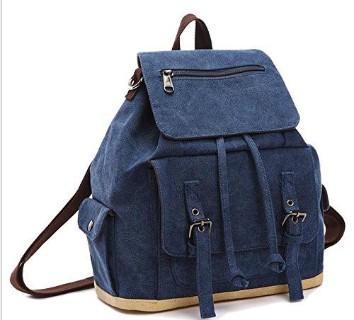 &ZHOU Segeltuchtasche, Männer und Frauen lässig Rucksack Schultasche Tasche Computer Tasche Rucksack Leinwand Schulter diagonal-Paket Blue