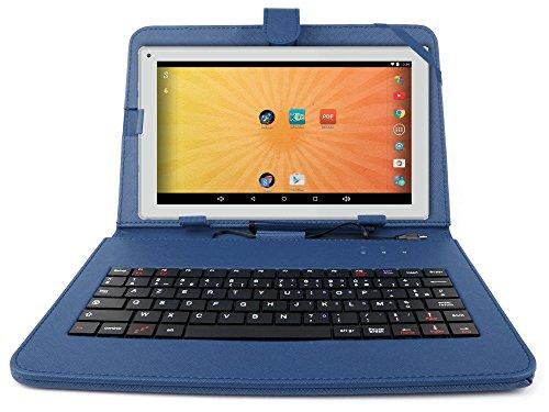 """Etui aspect cuir bleu + clavier intégré AZERTY pour Artizlee Tablette Tactile 3G ATL-21 10,1"""" 16Go et ATL-26 9,6"""" 16Go avec stylet tactile BONUS - Garantie 2 ans"""