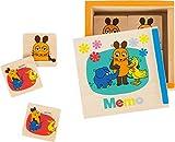 Small Foot Design 10491 Sendung Memo-Spiel aus Holz mit Verschiedenen Motiven Ausder Maus in Praktischer Schiebebox, als Reisespiel Geeignet