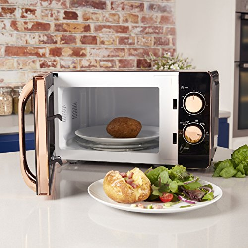 Tower T24020 Manual Solo Microwave, 800 W, 20 liters, Black and Rose Gold