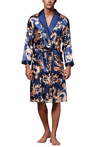 Dolamen Herren Morgenmantel Bademäntel Kimono, Weich u. Leicht Glatte Luxus Satin Nachtwäsche Bademantel Robe Negligee Locker Schlafanzug mit Belt & Pockets (XX-Large, Blau) - Luxus Nachtwäsche