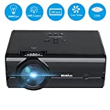 WiMiUS T8 Mini LED Video Projector, Portable 2000 Lumen 1080P Full HD LCD Home Theater Projector, Multimedia Support TV iPhone Android PC PS4 via HDMI USB SD VGA AV for Movies Games Parties