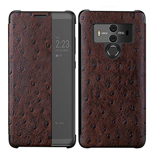 3C-LIFE Luxury Classic Genuine Leather Case Compatible with Huawei P20 Pro, Premium Handmade Cow Cowhide Leather Ostrich Skin Pattern [Wireless Charging] Smart Wakeup/Sleep Case Folio Cover (Coffee) - Genuine Ostrich Skin Leder