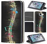 CoverFix Premium Hülle für Samsung Galaxy S7 Edge G935F Flip Cover Schutzhülle Kunstleder Flip Case Motiv (244 Musik Noten Schwarz Blau Rot Gelb)