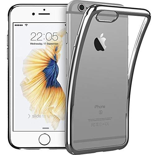 ESR kompatibel mit iPhone 6S Plus / 6 Plus Hülle (5,5 Zoll), Twinkler Series [0.8mm Ultra Dünne] Weiche Silikon Schutzhülle TPU Transparent mit Farbig Rahmen Hülle für iPhone 6+ / 6S+, Grau