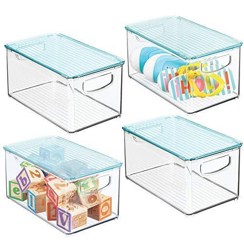 MDesign Juego de 4 cestas organizadoras con tapa para habitación infantil -...
