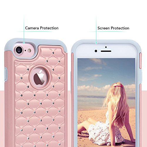 iPhone 7 Hülle, Imikoko iPhone 7 Strass Hülle Dual Layer Case Cover Hybrid Schild TPU + PC Hard Case Cover für Apple iPhone 7(Rosegold) Rosegold