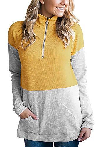 (huateng Womens Long Sleeve 1/4 Zip Pullover Leichtes Sweatshirt Lässige Tunika Bluse mit Tasche)