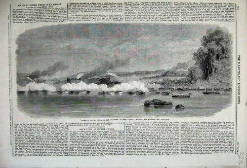 Tribu Afrique Occidentale de Loosoos de 1859 d'Attaque Forces des Anglais par original old antique victorian print