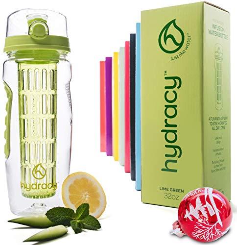 Hydracy Bottiglia con Infusore per Acqua Aromatizzata alla Frutta con Esclusiva Sacca Isolante Antitraspirante -1Litro - Senza BPA...