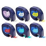 6x Kompatible Dymo LetraTag Kunststoff Etikettenband 16951 91221 91222 91223 91224 91225 Combo Set mit Dymo LetraTag LT-100H LT-100T Etikettendruckern (selbstklebendes, LetraTag-Etikettiergeräte, 12mm x 4m, 6-Packung)