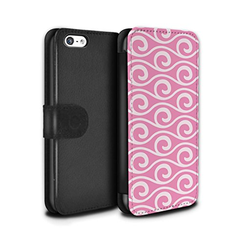 Stuff4 Coque/Etui/Housse Cuir PU Case/Cover pour Apple iPhone 5C / Multipack Design / Motif ondes chic Collection Rose